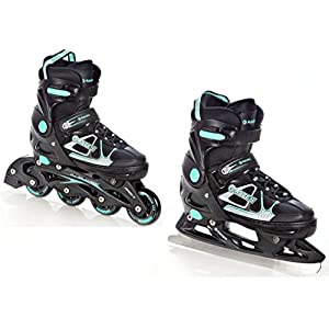 RAVEN 2in1 Schlittschuhe Inline Skates Inliner Spirit Black/Mint verstellbar
