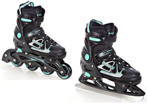 2in1 Schlittschuhe Inline Skates Inliner Raven Spirit Black/Mint verstellbar Größe: 37-40 (23,5cm-26cm)
