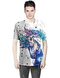 sxlb-Hombres Camisetas Animal Colorido 3D Impreso O-Cuello Manga Corta  Delgado Casual Camisetas 9de726e0b4bd3