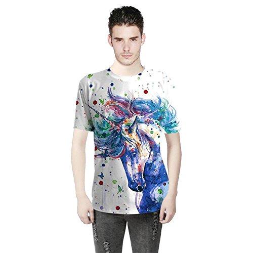 OOSM&h Männer T-Shirts 3D buntes Tier gedruckt O-Ausschnitt Kurzarm Schlank Beiläufig Hip Hop T-Stücke, Photo, l
