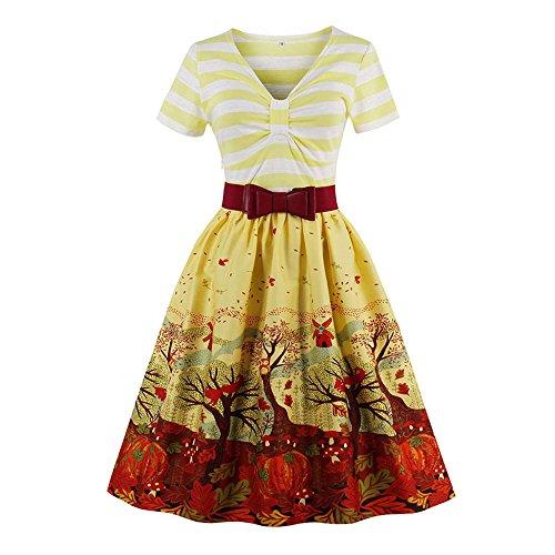 ZAFUL Mujer Vintage Vestido Años 50s Audrey Retro Impresión Floral Vestido de Cóctel Fiesta Verano Falda Plisada Rockabilly Tallas S a 4XL
