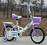 YEARLY Kinderfahrrad, Schüler klappräder Baby fahrrad Kinderwagen Super leichtes Portable Klappräder Für 3-5 jahre alt-Lila 14inch