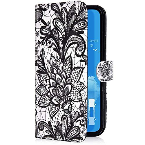 Uposao Kompatibel mit Samsung Galaxy J4 2018 Handyhülle 3D Bunt Bling Glitzer Muster Leder Tasche Schutzhülle Brieftasche Handytasche Lederhülle Klapphülle Case Flip Cover,Schwarz Blume