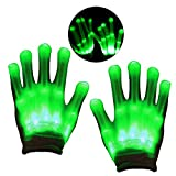 Geschenke für Kinder ab 4 - 10 Jahre, DMbaby Geschenke für Mädchen Jungs LED Blinklicht Bunte Rave Party Handschuhe Grün G12
