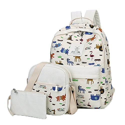 Ohmais 3PCS Rücksack Rucksäcke Rucksack Backpack Daypack Schulranzen Schulrucksack Wanderrucksack Schultasche Rucksack für Schülerin weiß