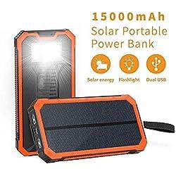 Soluser Caricabatterie Portatile Powerbank 15000mAh Caricatore Solare Versione aggiornata Batteria Esterna 2 Porte USB & Forte Luce LED per Smartphones
