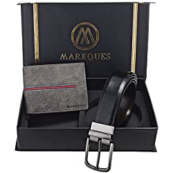 MarkQues Men's Grey And Black Leather Wallet & Belt Combo (VK-2213 NL-0102)