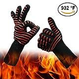 Gants de barbecue Résistant à la chaleur – 500 °C Barbecue Four Rôtir Cuire Manipulation sûre des casseroles et poêles – Cuisinière / Poêles Manique Rote Streifen