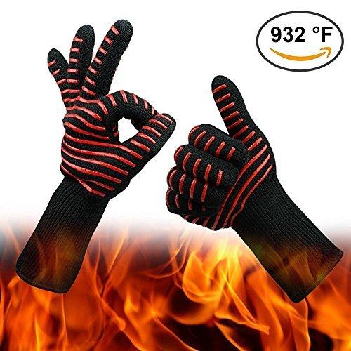 résistantes à la chaleur Gants de 932°F (500℃) Barbecue Cuisson Gants Gants de four cuisine Safe Handling de casseroles et poêles de cheminée/pour griller, Rôti & Pâtisserie/Potholder Rote Streifen