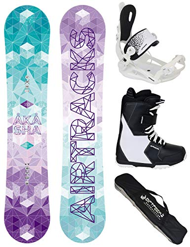 Airtracks SNOWBOARD SET - BOARD AKASHA LADY 150 - SOFTBINDUNG MASTER W - SOFTBOOTS SAVAGE W 42 - SB BAG (Burton Freestyle Bindungen)