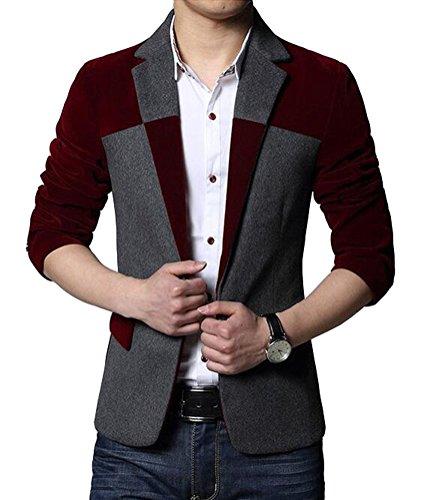 Brinny vestes Hommes Blazer Slim Fit Veston de costume de loisirs Blouson de travail Rouge