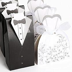 Set de 200 cajitas de boda dulces regalos?? bombones con Forma Traje de Novios (100pcs Novia, 100pcs Novio)