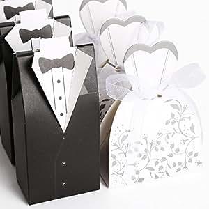 50 couples Boîte à dragées Marié noir + Mariée blanc pour Mariage