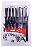 Uniball PIN Pack de 8 Feutres avec assortiment de 8tailles de pointe Noir