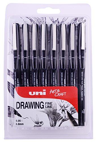 Penna da disegno PIN 8pc, inchiostro nero, pennini di dimensioni assortite in confezione da 8 pezzi