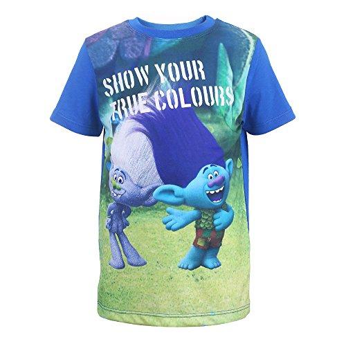 TROLLS Niños Camiseta, T-Shirt, Azul, Talla 128, 8 Años
