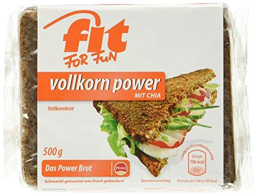 PEMA Fit for Fun Vollkorn Power, Vollkornbrot mit Chia, 6er Pack (6 x 500 g)