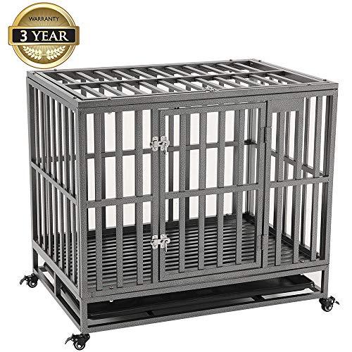 KELIXU Caja para perros de servicio pesado Jaula para perros grandes Perreras para perros grandes y jaulas para perros grandes Interior al aire libre con puertas, cerraduras y ruedas