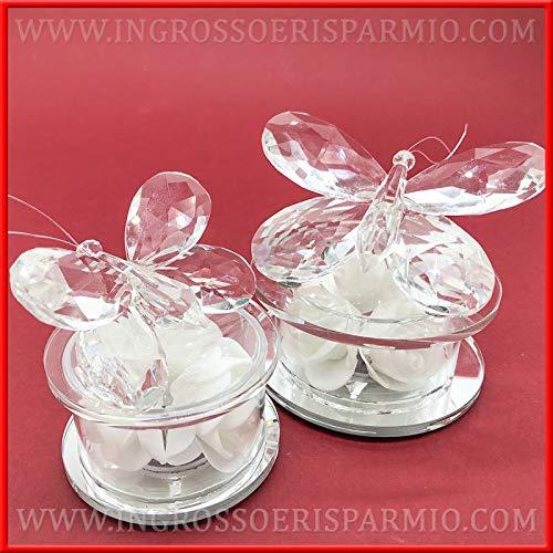 Ingrosso e risparmio farfalle in cristallo su base tonda in vetro con rose bianche e luce led, bomboniere raffinate per matrimonio, comunione, battesimo (grande-con confezione panna)