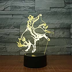 ZNND Luz colorida de la noche, USB Charging Creativity LED 3D Illusion Effect Lámpara dimensional de la mesa de toros (Panel acrílico + Base de ABS)