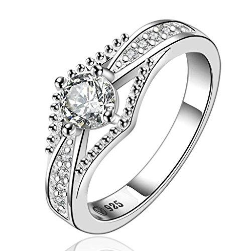 Krone Ring Versprechen Set (Aeici Versilbert Versprechen Ringe für Frauen Hohle Krone Form Hochzeitsring Weiß Silber Größe 57 (18.1))