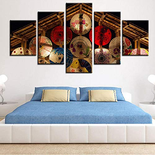 ue Kunst Leinwand Malerei 5 Panel Schöne Öl Papier Regenschirm Wand Für Wohnzimmer Rahmen Modulare Bild Poster-20X35/45/55Cm,With Frame ()