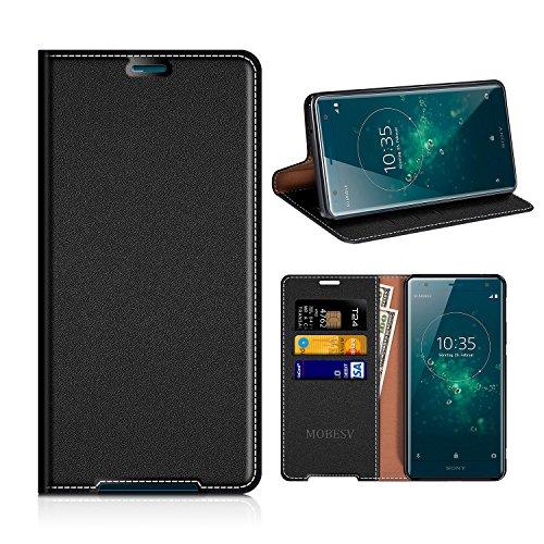 MOBESV Sony Xperia XZ2 Hülle Leder, Sony Xperia XZ2 Tasche Lederhülle/Wallet Case/Ledertasche Handyhülle/Schutzhülle mit Kartenfach für Sony Xperia XZ2 - Schwarz