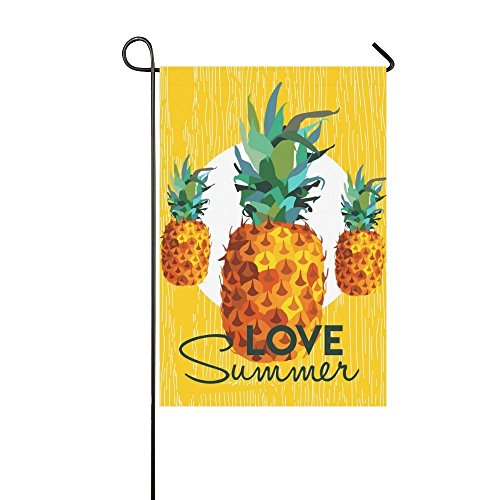 interestprint Love Sommer Colorful Ananas Polyester Garten Flagge Haus Banner 30,5 x 45,7 cm, tropischen gelb Deko Obst Flagge für Hochzeit Party Yard Home Outdoor Decor