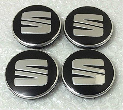 4 x Seat Schwartz Argent Logo 56 MM cache-moyeux Lot de 4 enjoliveurs Couvercle de jante de complet de roue Capuchons
