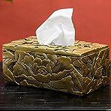 ZHIJINHE Tissue Box, Chinesischer Stil, Harz, Handgravur, Kunsthandwerk, Kreatives Zuhause, LivingRoom, Schlafzimmer, Ornament, 26 * 15 * 11cm
