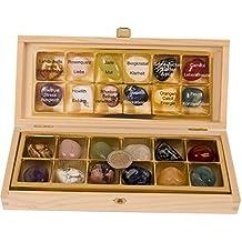12 Stück echte Edelsteine Set Trommelsteine Heilsteine ca. 30 x 20 mm, alle Steinarten einzeln benannt in edler Holzbox, mit Rosenquarz,Amethyst,Bergkristall Orangencalcit usw.