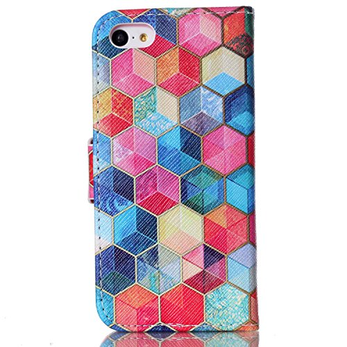 iPhone 5C Hülle, iPhone 5C Case, ISAKEN iPhone 5C Hülle Muster, Handy Case Cover Tasche for iPhone 5C, Bunte Retro Muster Druck Flip Cover PU Leder Tasche Case Schutzhülle Hülle Handy Tasche Etui Scha Retro Bunte Hexagon Muster