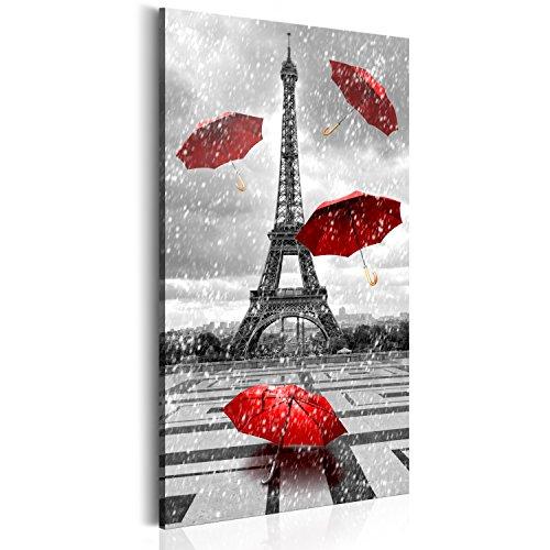 Murando - quadro 60x120 cm - xxl formatoo -1 parte - quadro su tela fliselina - stampa in qualita fotografica – parigi francia torre eiffel ombrello paris d-b-0076-b-b
