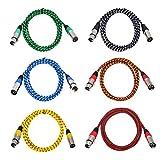 QSJi Mehrfarbiger XLR Kabel 6.5ft 3 Pin Audio Path Kabel 6-Pack 2 Meter für Bühnenbeleuchtung Balanced XLR Stecker auf Buchse Kabel Cord