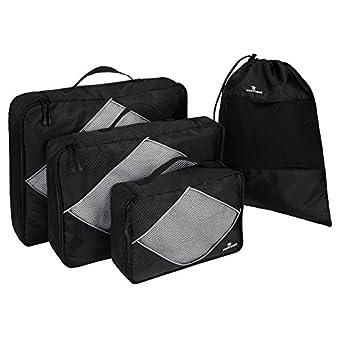 CocoTravel Packing Cubes plus Schuhbeutel   Hemdentasche Koffer   Rucksack-Organizer   Set vierteilig schwarz