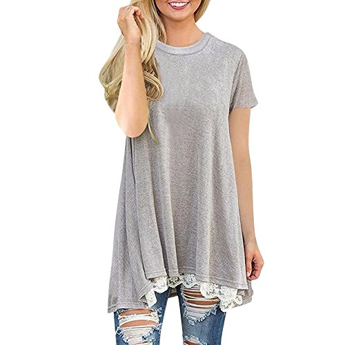 OVERDOSE Damen Casual Spitze Frühling Sommer Kurzarm Shirt Pullover Tops Lose Bluse Oberteil Pulli(A-Gray,L)