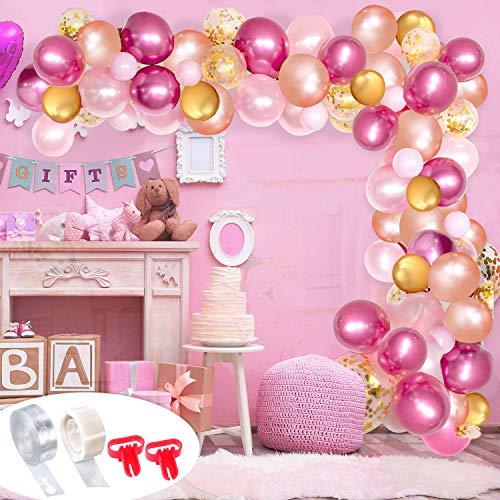 Girlande Kit, Dekorieren Ballon Streifen Kit mit 1 Rollen 16ft Ballon Dekorieren Streifen 2pcs Ballon Bindewerkzeug 1 Rollen 100 Dot Kleber 100 Bunte Luftballons für Party ()