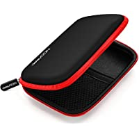 Funda deleyCON para discos duros / Funda HDD para discos de 2.5 y SDD - Sólida y segura - 2 compartimentos / interiores - Rojo