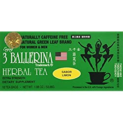 3 BALLERINA TEA DIETERS DRINK EXTRA STRENGH LEMON FLAVOR (3 boxes, 18 tea bags , 1.88 oz )