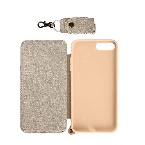 MOMDAD Housse iPhone 7 PU Cuir Étui Ultra Slim Fit PU Cuir étui Coque pour iPhone 7 Case Cover avec Support et Miroir de Maquillage pour iPhone 7 4.7 Pouces Étui Hull Ultra mince Coque-Khaki