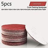SDCVRE Schleifpapier Rote kreisförmige Polierscheiben 5pcs 125mm mit Körnungen 80# -1000# Filzscheibe Polieren Schärfen Sand Papier Werkzeugzubehör, 800