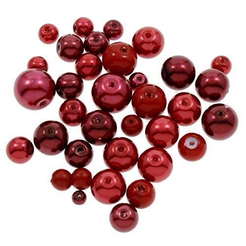 250g Glaswachsperlen Konvolut Wachsperlen Kugel Glasperlen Mix Rot Bordeaux Set 4 6 8 10 12 mm Schmuckperlen zum Fädeln D38