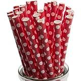 Lunares blancos en papel rojo pajas x 50