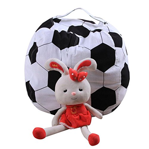 HKFV Plüschtier Organizer Kinder Stofftier Plüsch Fußball Spielzeug Lagerung Sitzsack Soft Pouch...