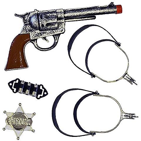 German Trendseller® - 1 x set de Cowboy┃5 accessoires pour déguisement Western┃ 1 pair d