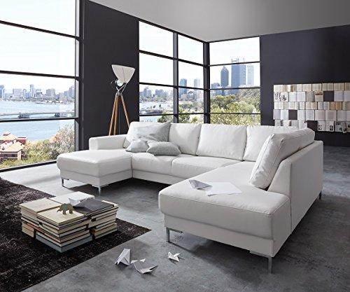 Couch Silas Weiss 300x200 cm Ottomane Rechts Designer Wohnlandschaft
