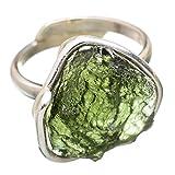 Czech Moldavite, Tschechischer Moldavit 925 Sterling Silber Ring 7.75