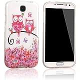 tinxi® Design Schutzhülle für Samsung Galaxy S4 i9500 Hülle TPU Silikon Rückschale Schutz Hülle Silicon Case mit zwei pink Eule Uhu Kauz Owl auf dem Ast Muster