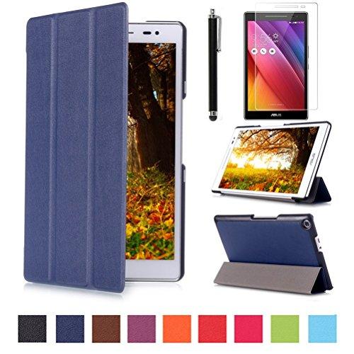 Beebiz ASUS zenpad 8.0z380C Tablets. und Hüllen–Ultra Slim Schutzhülle mit Ständer für 20,3cm ASUS zenpad 8.0(z380C/z380kl) Tablet + Displayschutzfolie + Stylus dunkelblau