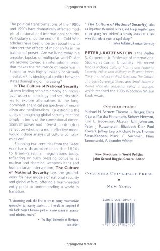 Culture of National Security: Norms and Identity in World Politics (New Directions in World Politics)